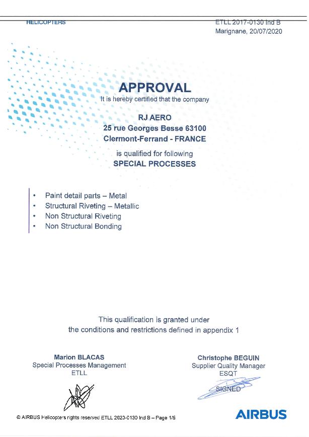 Image de notre certificat Qualifications Airbus Helicopter