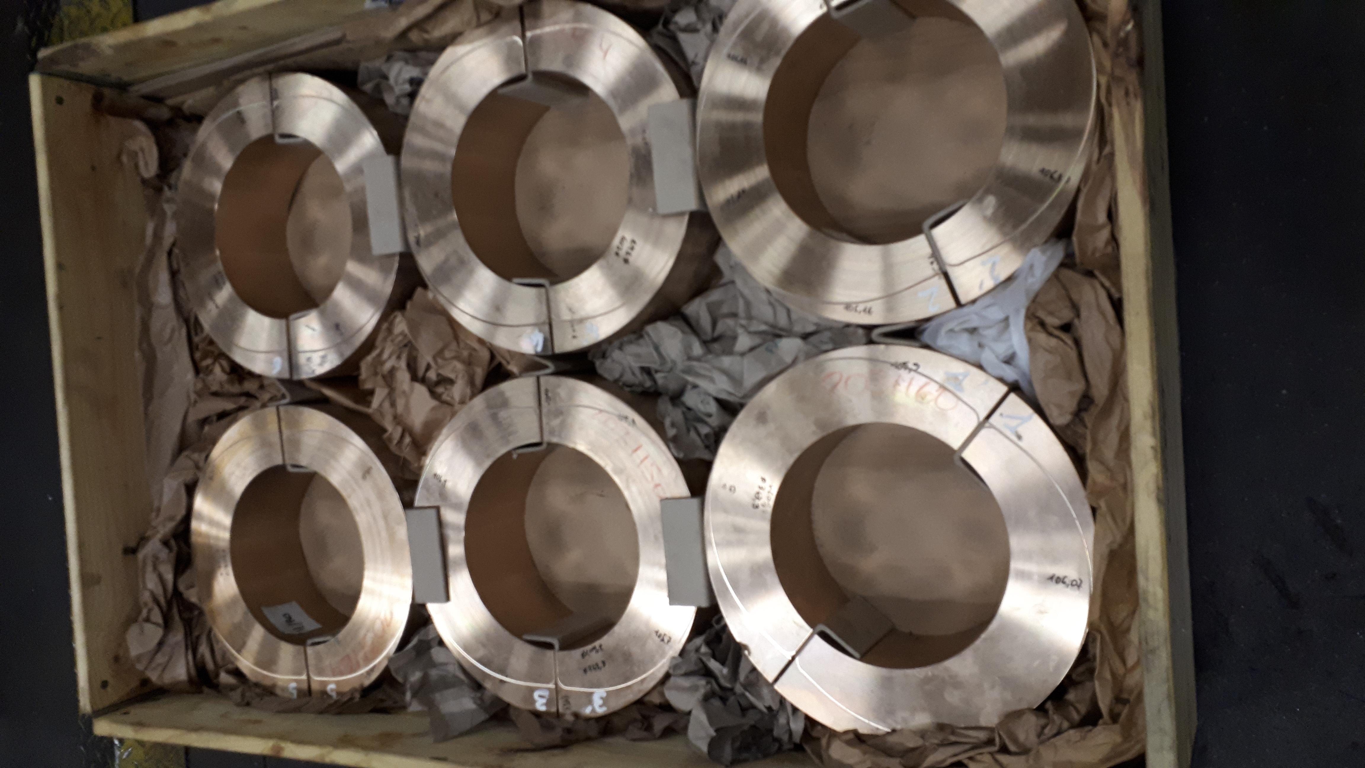 conditionnement de pièces découpées en bronze